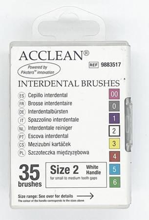 ACCLEAN Interdental 2 - szczoteczki międzyzębowe  SMALL/MEDIUM 0.52, białe 35 szt