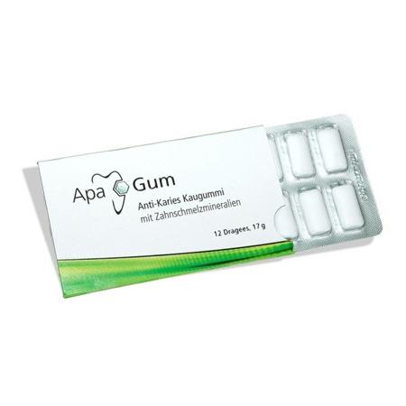 ApaGum - remineralizujące gumy do żucia chroniące przed próchnicą z ksylitolem i minerałami szkliwa zębów, 12 szt