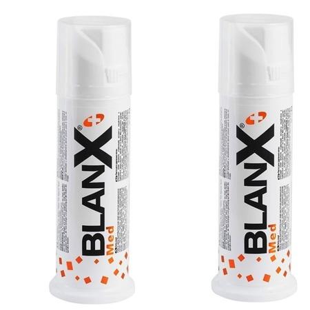 BLANX Med Anty-Osad DWUPAK- pasta usuwająca uciążliwe przebarwienia zewnątrzpochodne (kawa, herbata, wino, tytoń), zestaw promocyjny, 2x75 ml