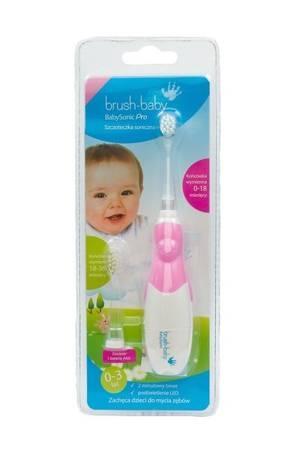 BRUSH-BABY Baby Sonic PRO - szczoteczka elektryczna (soniczna) dla niemowląt i dzieci w wieku 0-3 lat PINK