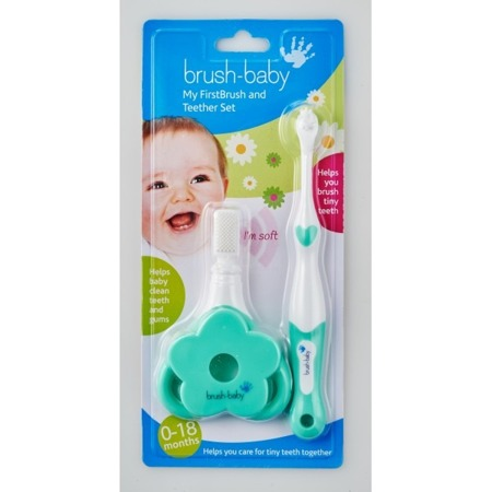 BRUSH-BABY FirstBrush i TeetherSet - profesjonalny  zestaw do pielęgnacji pierwszych zębów dzieci wieku 0-18 miesięcy