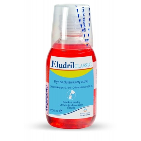 ELUDRIL Classic - płyn do płukania jamy ustnej po zabiegach stomatologicznych z chlorheksydyną 0,10%, 200 ml