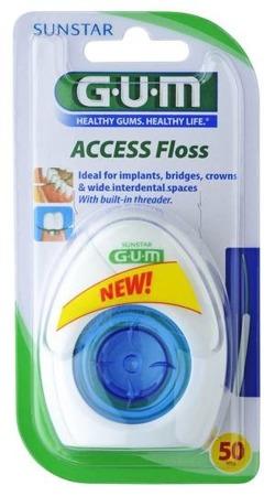 GUM Access Floss - nić dentystyczna do mostów, implantów, koron i aparatów ortodontycznych, 50 szt