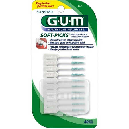 GUM SUNSTAR  Soft-Picks Regular -elastyczne wykałaczki z delikatną, gumową końcówką, medium (regular), 40szt