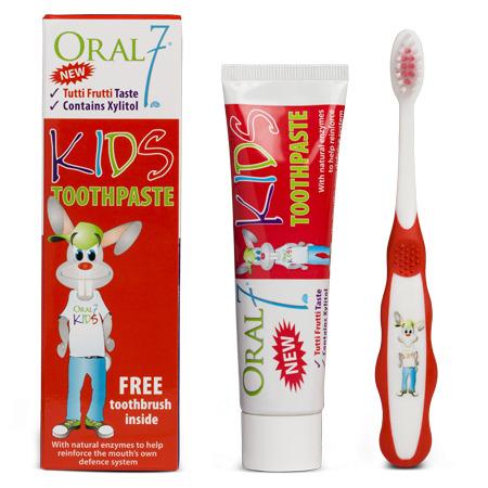 Oral7 KIDS pasta do zębów dla dzieci z naturalnymi enzymami wzmacniającymi antybakteryjne działanie śliny + szczoteczka