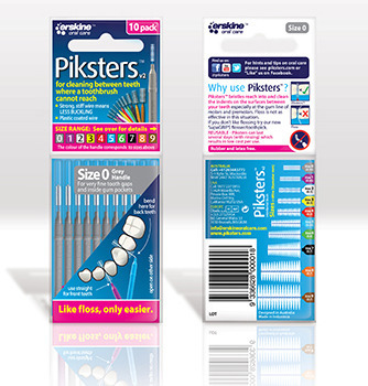 PIKSTERS Regular 0 - szczoteczki międzyzębowe  SMALL 0.35, szare 10 szt