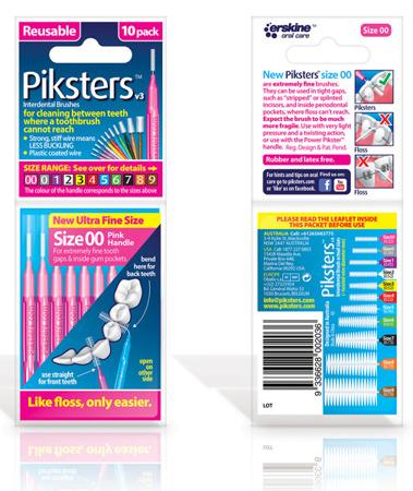 PIKSTERS Regular 00 - szczoteczki międzyzębowe ULTRA SMALL 0.32, różowe 10 szt