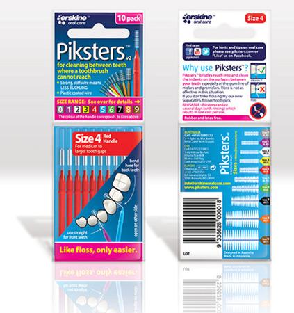 PIKSTERS Regular 4 - szczoteczki międzyzębowe 0.5, czerwone 10 szt
