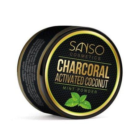 Sanso COCONUT CHARCOAL Mint White wybielający proszek z węglem do mycia zębów,30 g